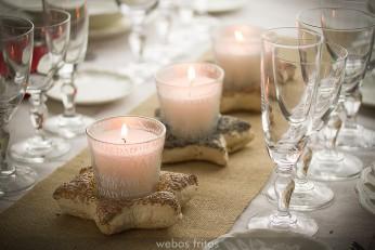 Centro de mesa hecho con pan para Navidad