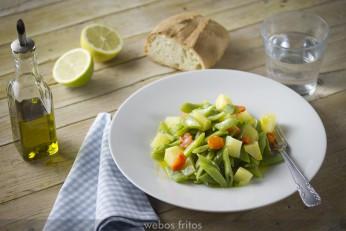 Hervido de judías verdes, patata, y zanahoria