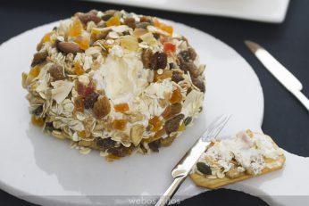 El interior de la bola de queso con muesli